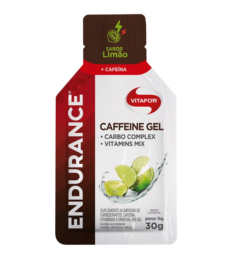 Endurance Caffeine Gel Sabor Limão Caixa com 12 Sachês 30g cada - Vitafor