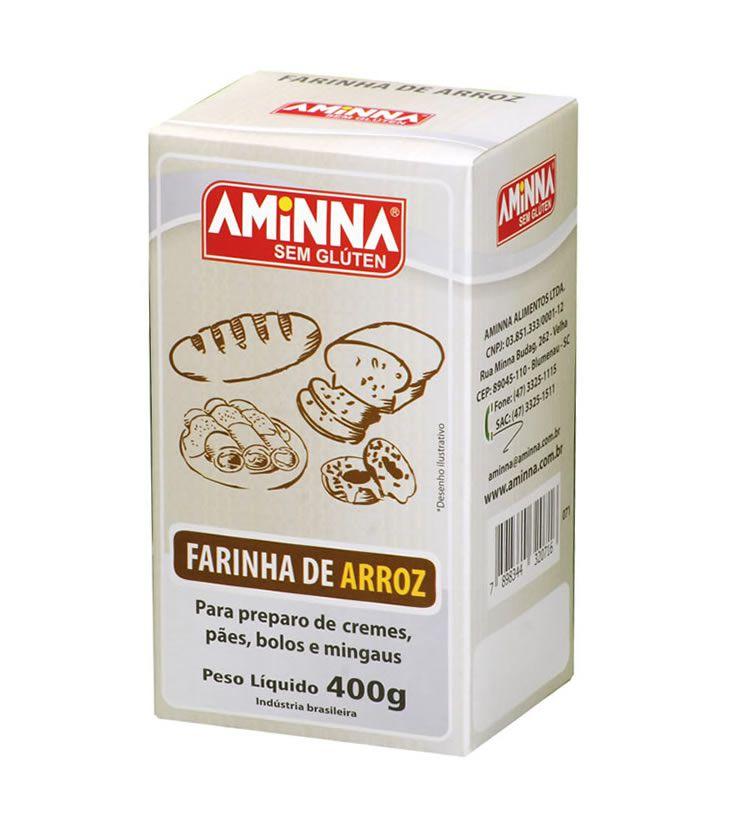 Farinha de Arroz sem Glúten 400g  - Aminna
