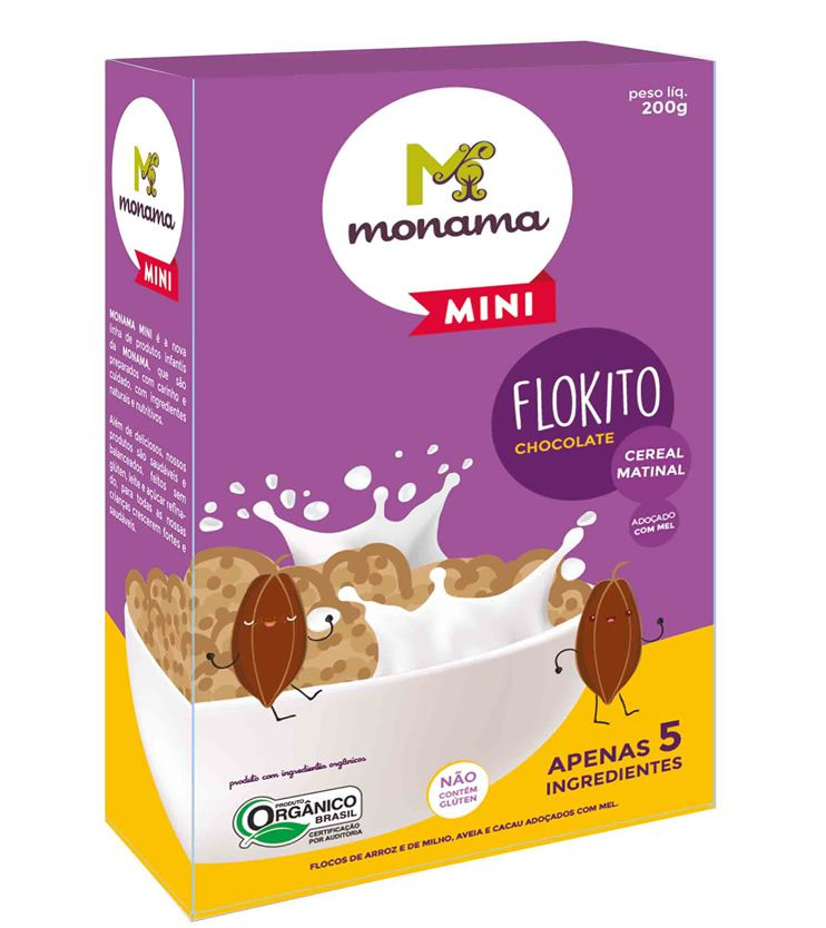 Flokito Cereal Matinal Orgânico Sem glúten 200g - Monama Mini