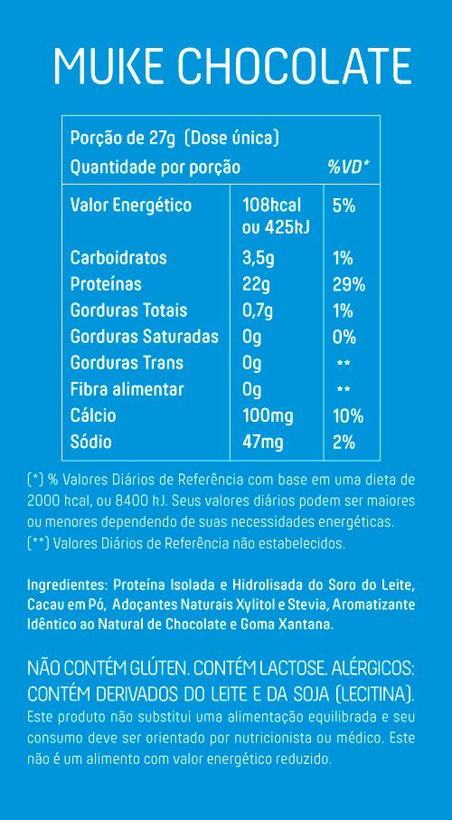Garrafinha Muke com 22g de Proteína Isolada e Hidrolisada Sabor Chocolate 27g - Mais Mu