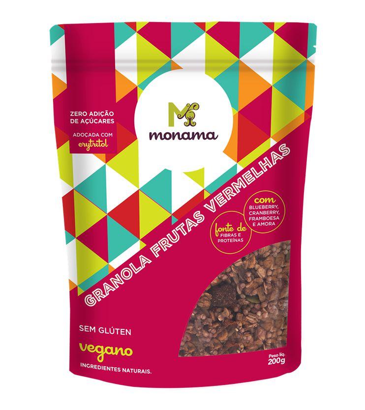Granola Aveia e Frutas Vermelhas Sem Glúten e Zero açúcar 200g - Monama