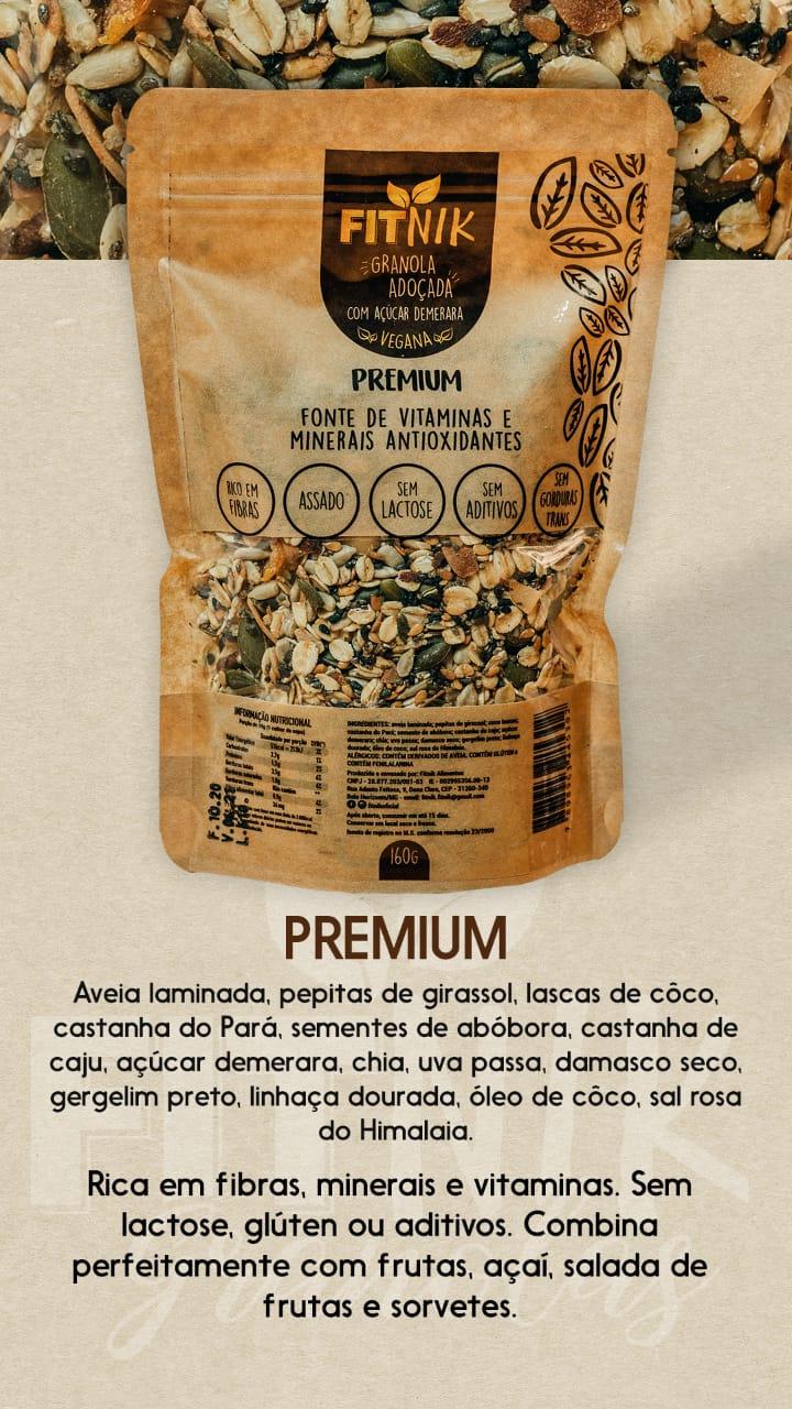 Granola Premium adoçada com açúcar demerara 160g - FitNik