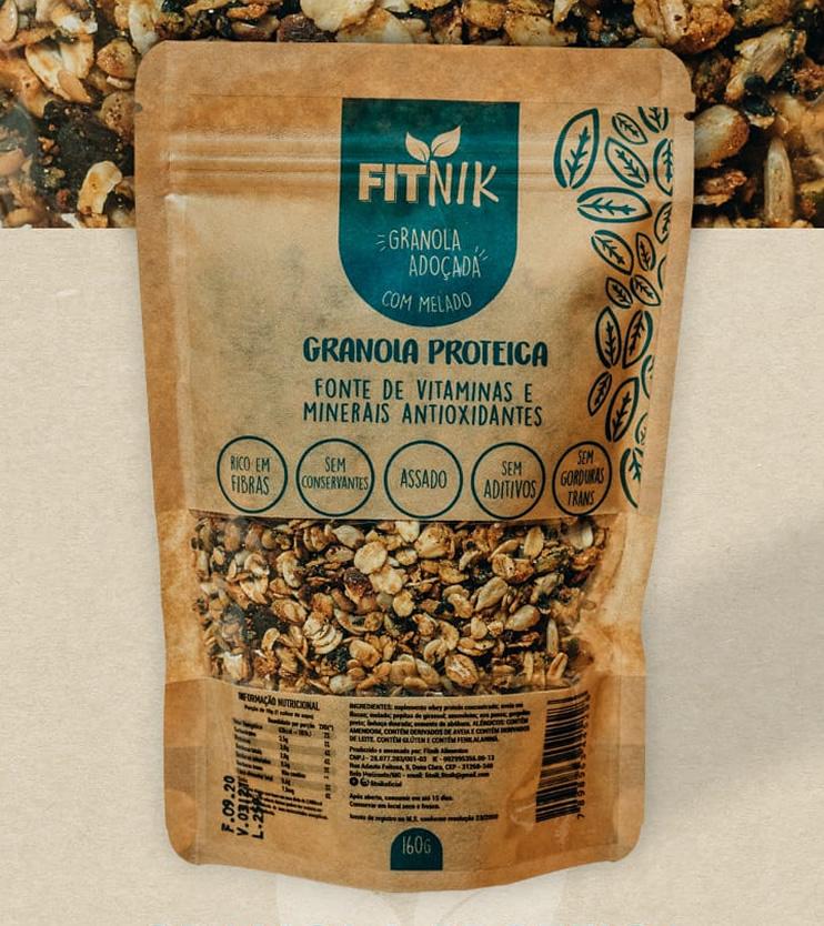 Granola Proteica adoçada com melado 160g - FitNik