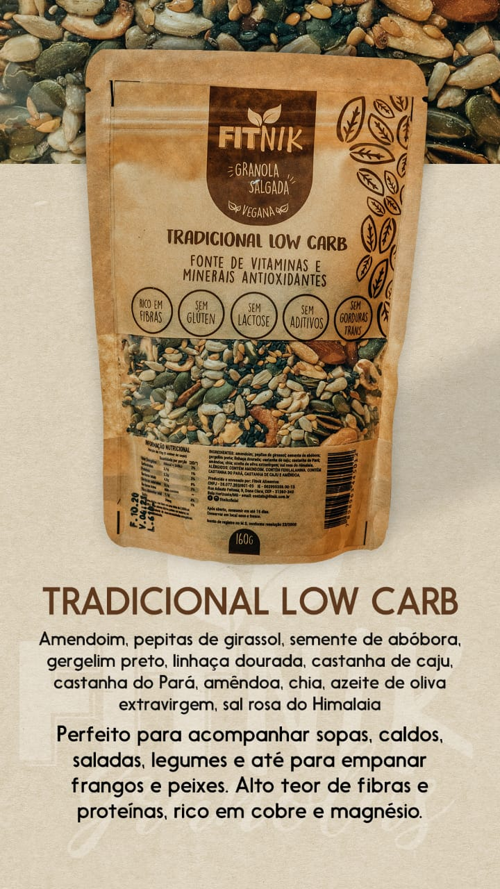 Granola Salgada Tradicional Low Carb 160g - FitNik