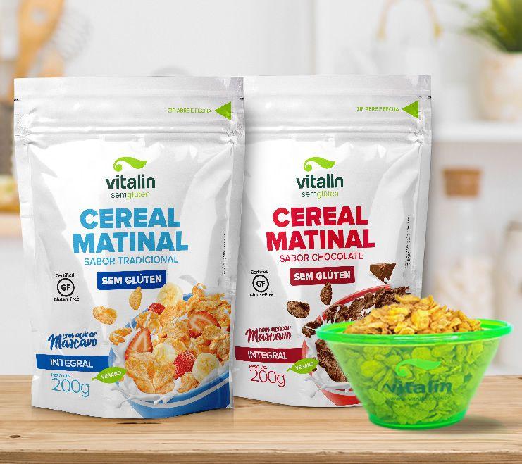 COMBO -  Cereal Matinal Tradicional + Cereal Matinal Chocolate GRÁTIS Bowl Vitalin Sem glúten