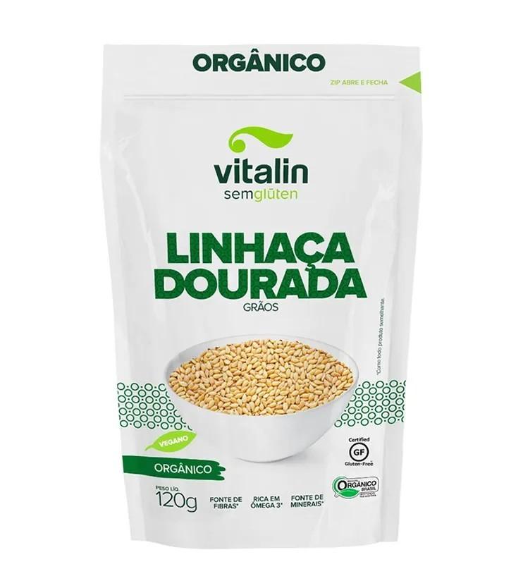 Linhaça Dourada Orgânica em Grãos 120g - Vitalin Sem glúten