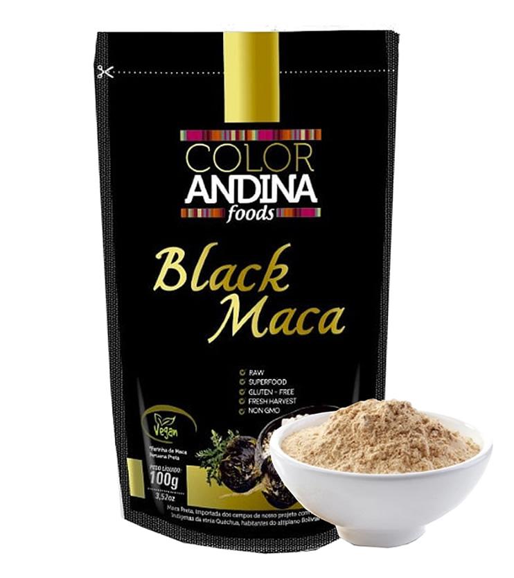 Maca Peruana Preta Pura Orgânica em pó (Black Maca) 100g - Color Andina