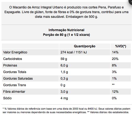 Macarrão Pena Integral Zero Glúten 500g - Urbano
