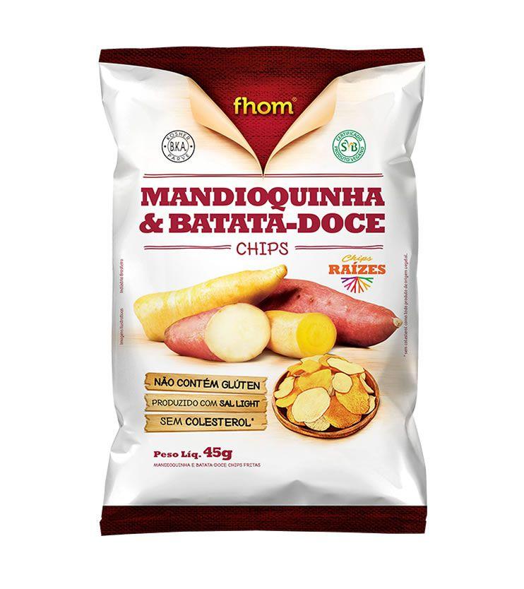 Mandioquinha e Batata Doce Chips 45g - fhom