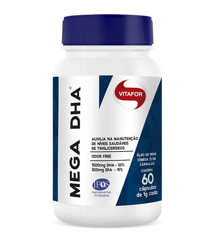 MEGA DHA Ômega 3 de alta concentração 60 cápsulas 1000mg - Vitafor