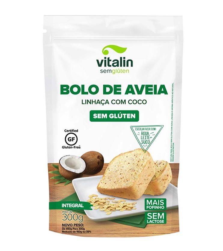 Mistura para Bolo de Aveia Linhaça com Coco - Vitalin Sem glúten