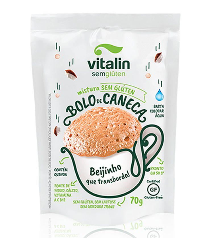 Mistura para Bolo de Caneca Beijinho Integral 70g - Vitalin Sem glúten