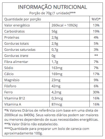 Mistura para Bolo de Caneca Brigadeiro Integral 70g - Vitalin Sem glúten