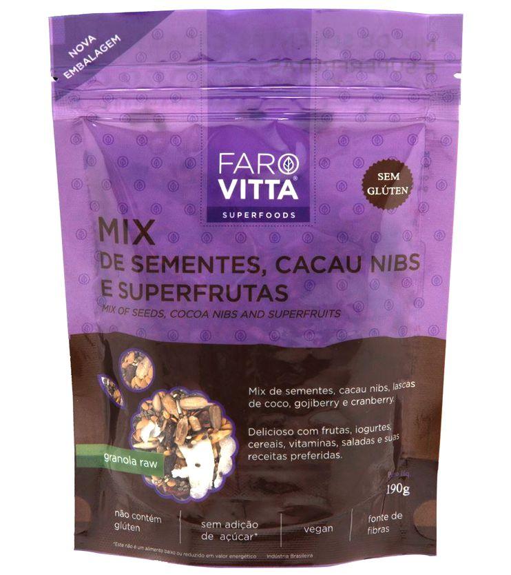 Mix de Sementes, Cacau Nibs e Superfrutas 190g - Farovitta Superfoods