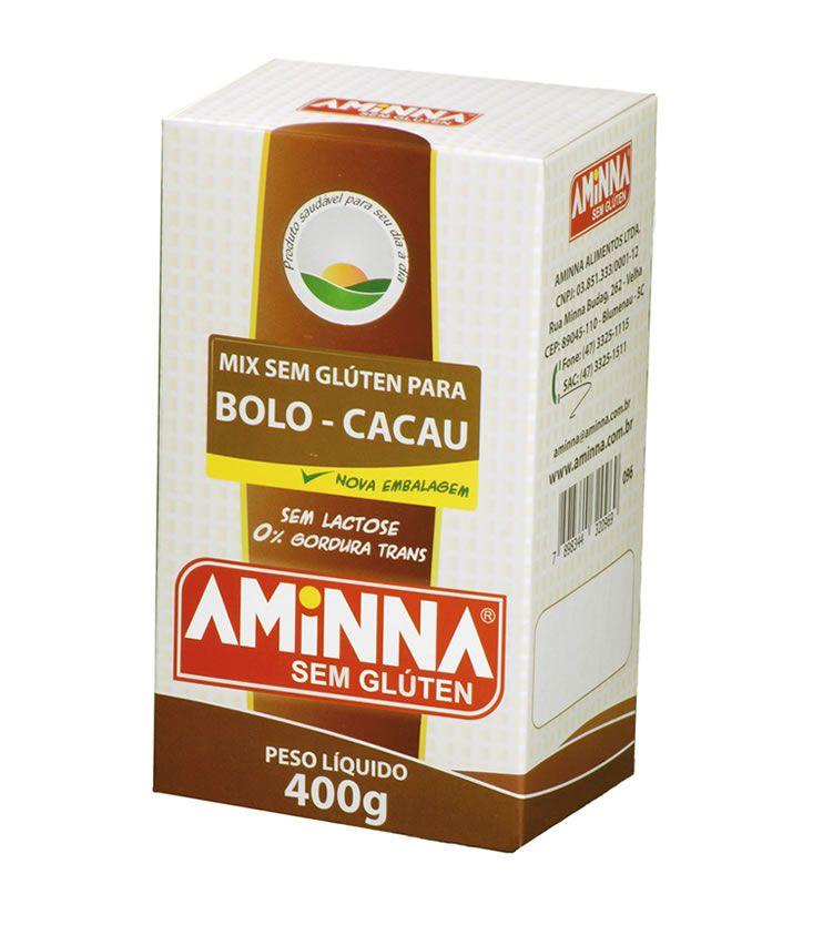 Mix para bolo sem Glúten sabor Cacau 400g  - Aminna