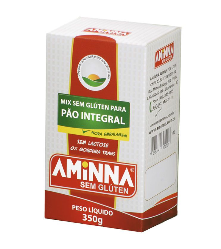 Mix para Pão integral sem Glúten 350g  - Aminna