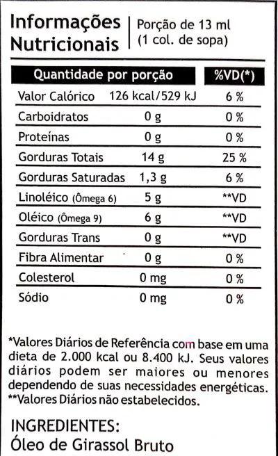 Óleo de Girassol prensado à frio 250ml - Pazze