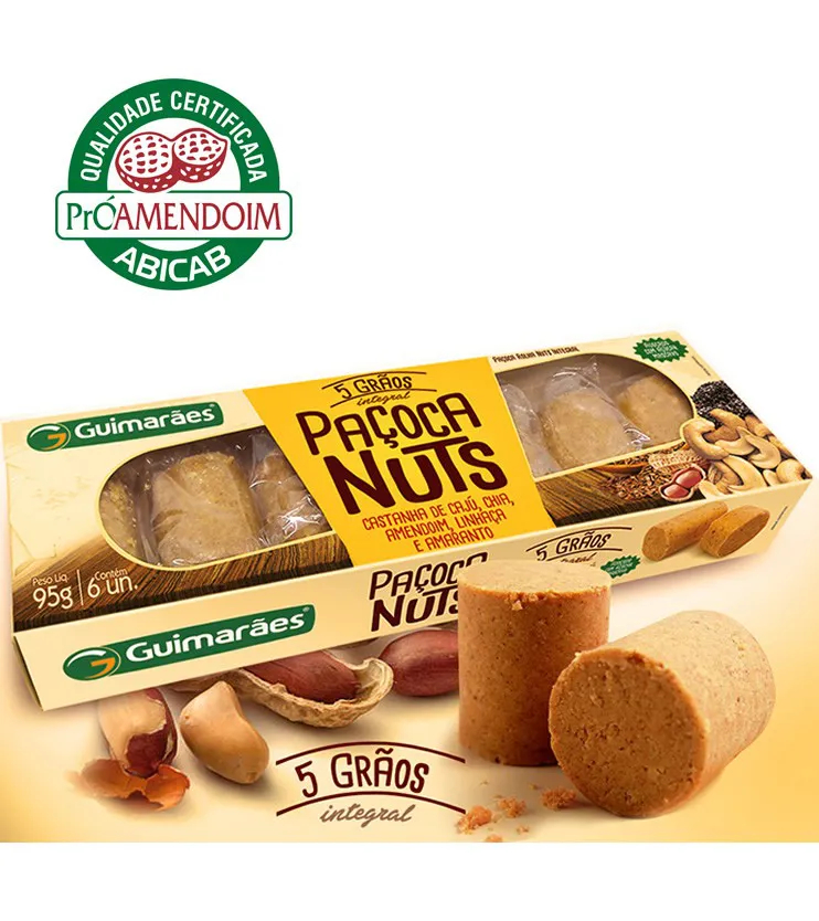 Paçoca Nuts 5 grãos Integral 6 unidades - Guimarães