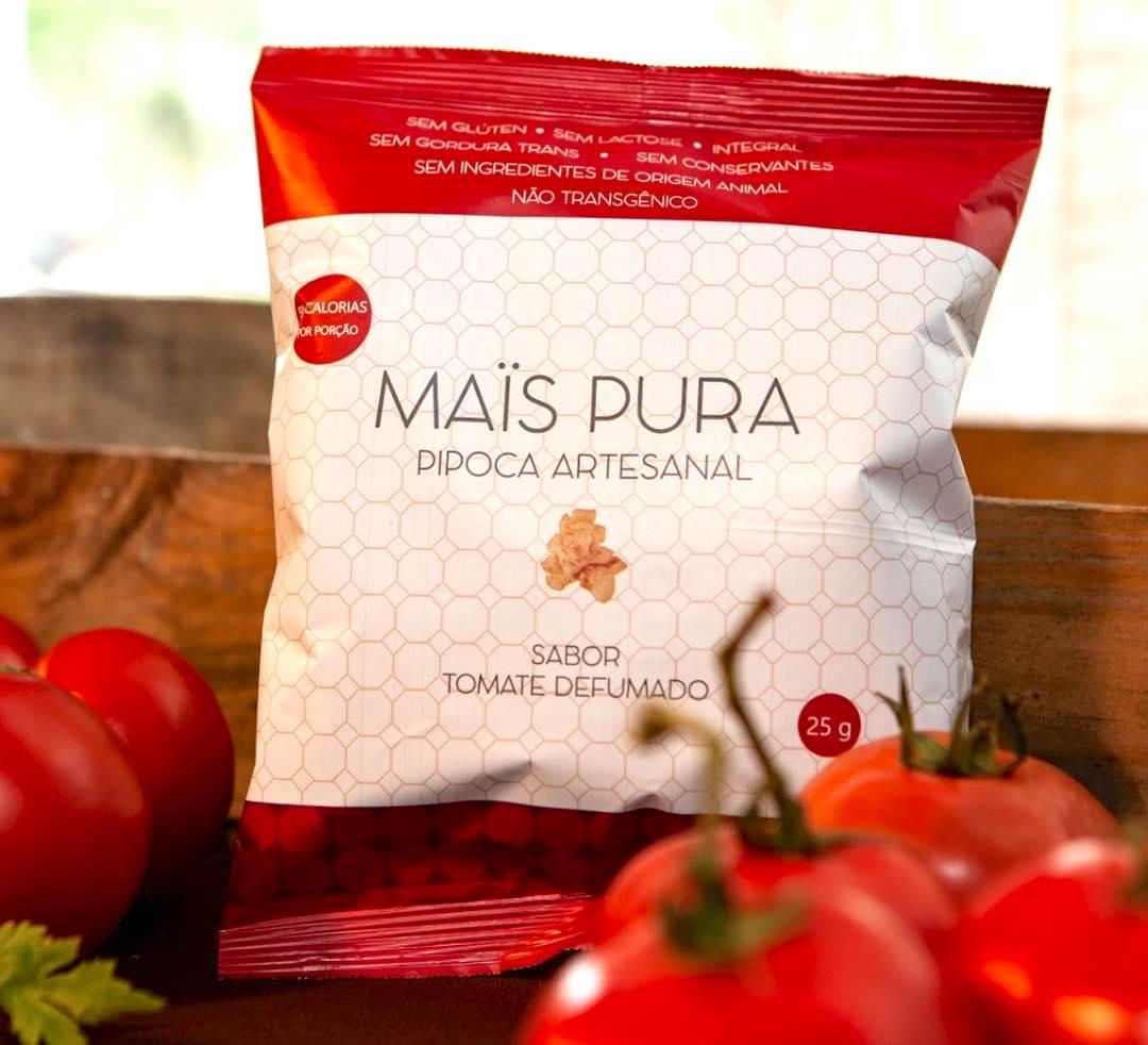 Pipoca Artesanal sabor Tomate Defumado 25g - Mais Pura
