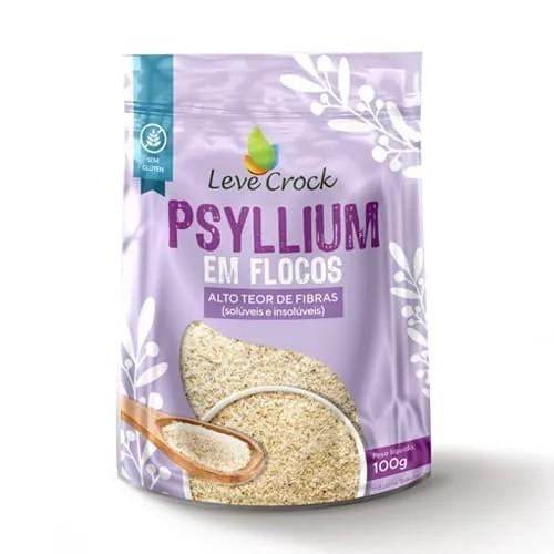 Psyllium em flocos fibra natural 100g - Leve Crock