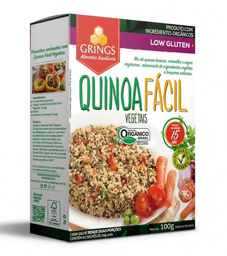 Quinoa fácil Vegetais Orgânica 100g - Grings Alimentos Saudáveis
