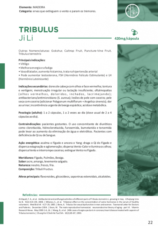 TRIBULUS Ji Li 60 cápsulas de 420mg - Vitafor