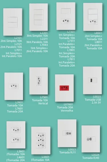 17 Módulo Cego + 7 módulos de interruptores simples + 6 suporte 4x4 para 6 módulos