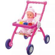 Carrinho de Boneca de Plastico Infantil Estampado Rolê do Bebe Com Acessórios 64cm