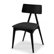 Kit c/ 2 unidades Cadeira Cadeira Fuji Madeira Maciça Preta Tecido Assento Veludo Preto