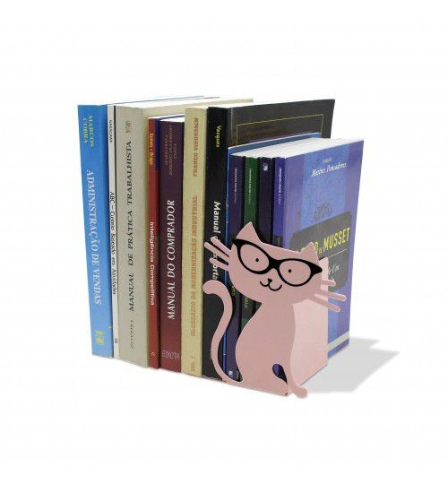 Aparador de Livros Gato Rosa