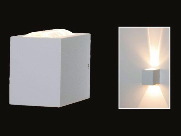 Arandela Cubo Lente/Vidro Parede Muro Externa 2 Fachos G9