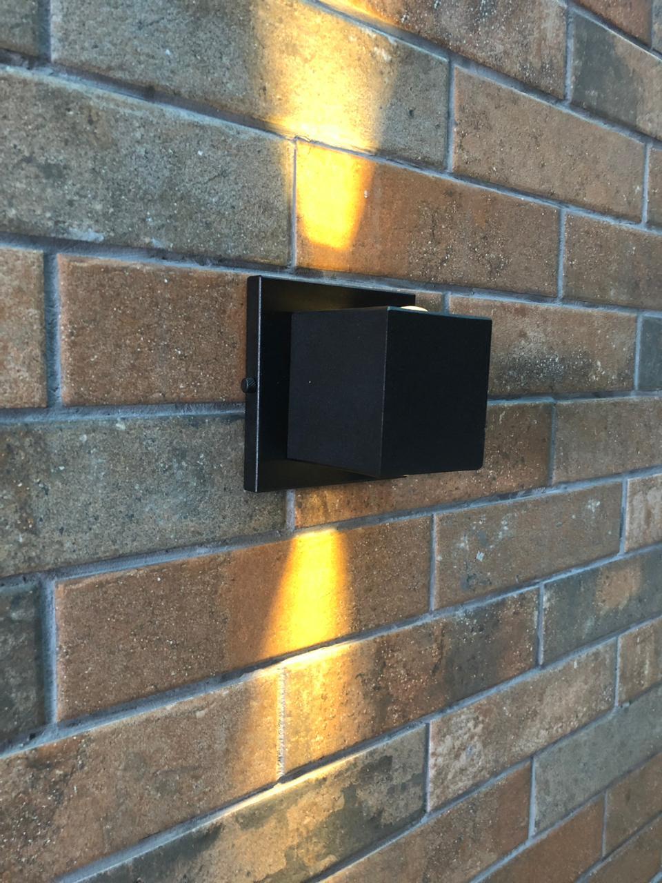 Arandela Cubo Vidro/Vidro Parede Muro Externa 2 Fachos G9