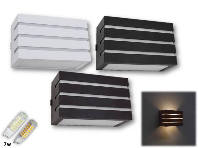 Arandela Frisada Frizzy Retangular 2 Fachos e 3 Frisos Uso Externo e Interno + Lâmpada de LED 5W
