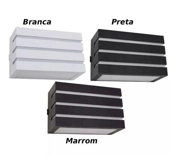 Arandela Frisada Frizzy Retangular 2 Fachos e 3 Frisos em ABS Uso Externo e Interno