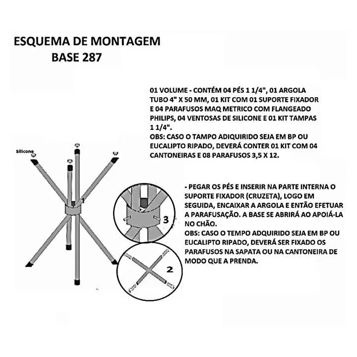 Armação Base de Metal Tubolar para Tampos de Mesa até 80x80cm