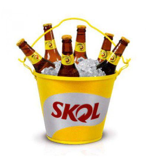 Balde de Gelo Garrafas de Cerveja Skol