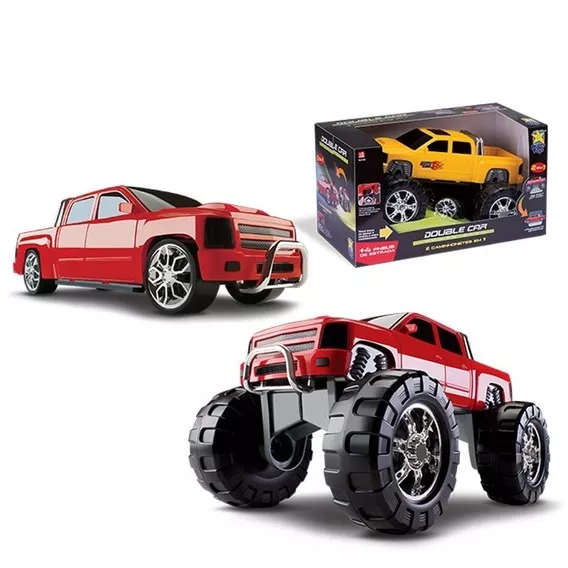 Brinquedo Caminhonete 2 Em 1 Double Car Vermelho /Amarelo/Azul