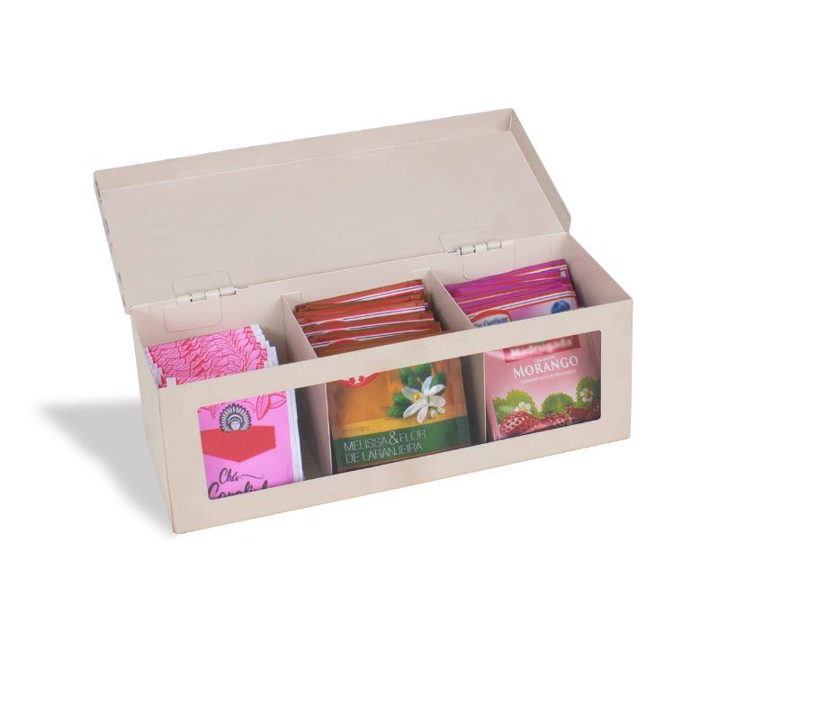 Caixa Chá de aço Organizadora - Hora do Chá