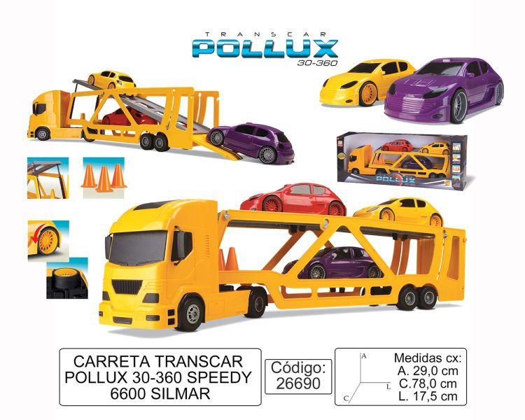 Caminhão Pollux Transcar Com 3 Carros À Fricção