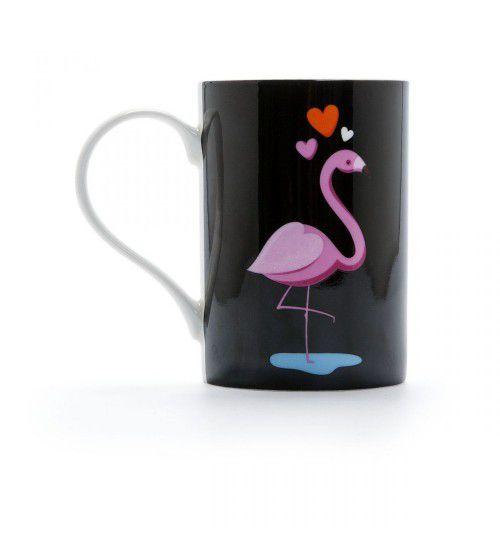 Caneca Porcelana Com Estojo Lata Flamingos