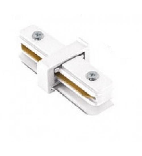 """Conector """"I"""" para trilho eletrificado branco"""