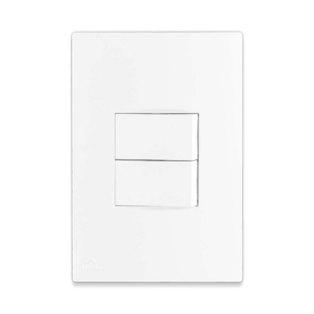 Conjunto 2 Interruptores Simples 10A 250V + Suporte + Placa - Linha Lissê / Apoio