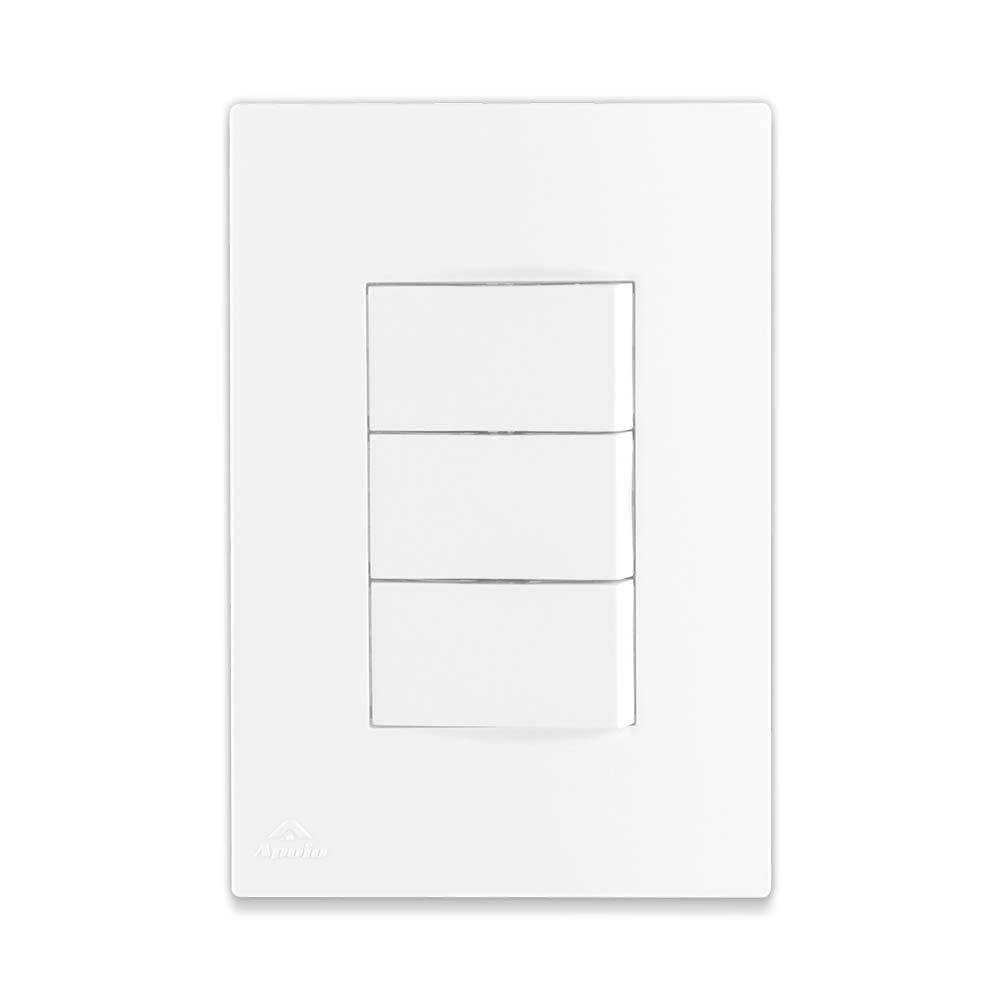 Conjunto 3 Interruptores Simples 10A 250V + Suporte + Placa - Linha Lissê / Apoio