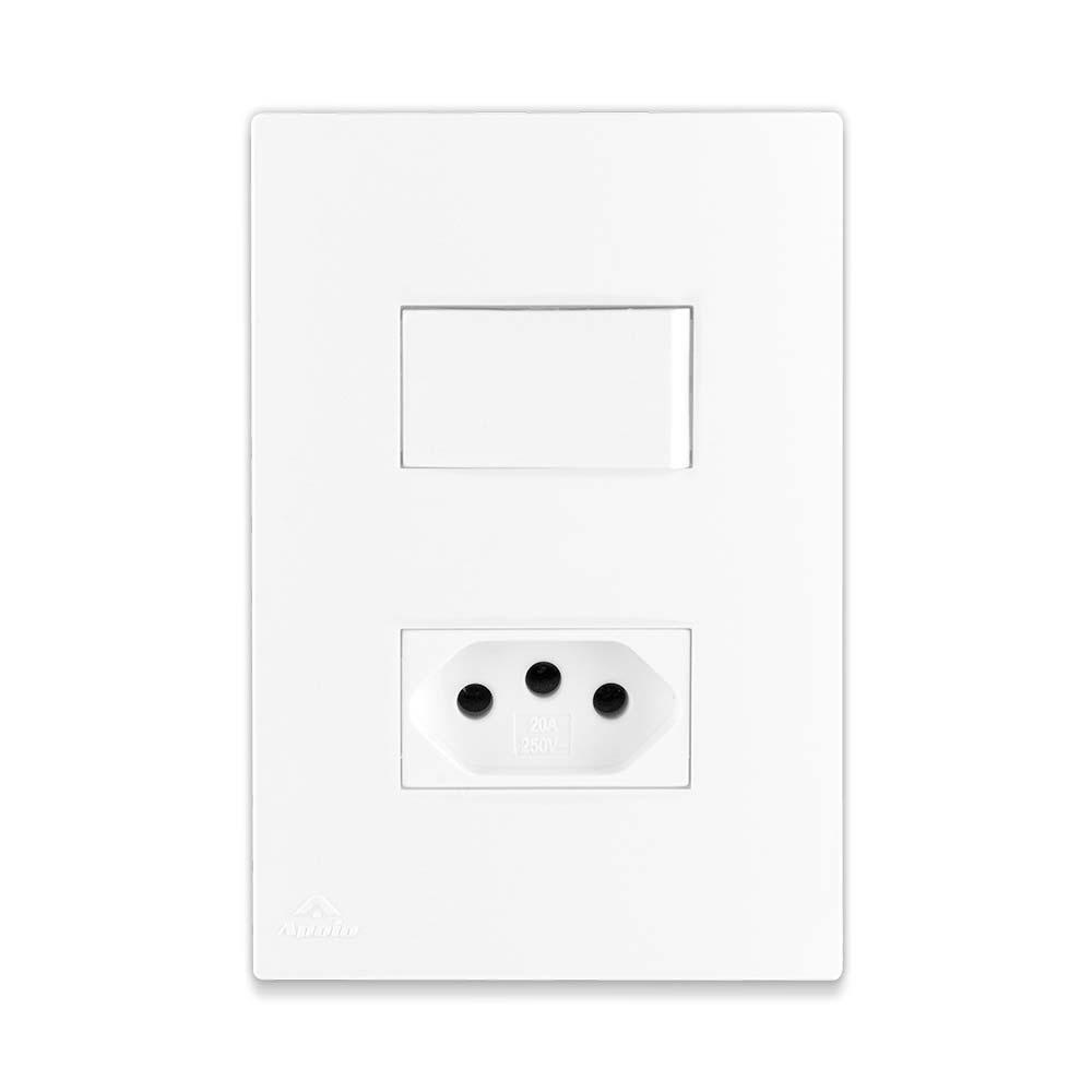 Conjunto Interruptor Simples + Tomada 2P + T 10A 250V + Suporte + Placa - Linha Lissê / Apoio