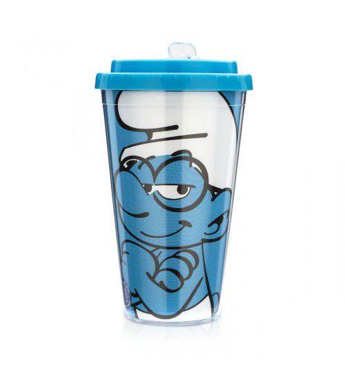 Copo Canudo Retrátil Smurfs Gênio
