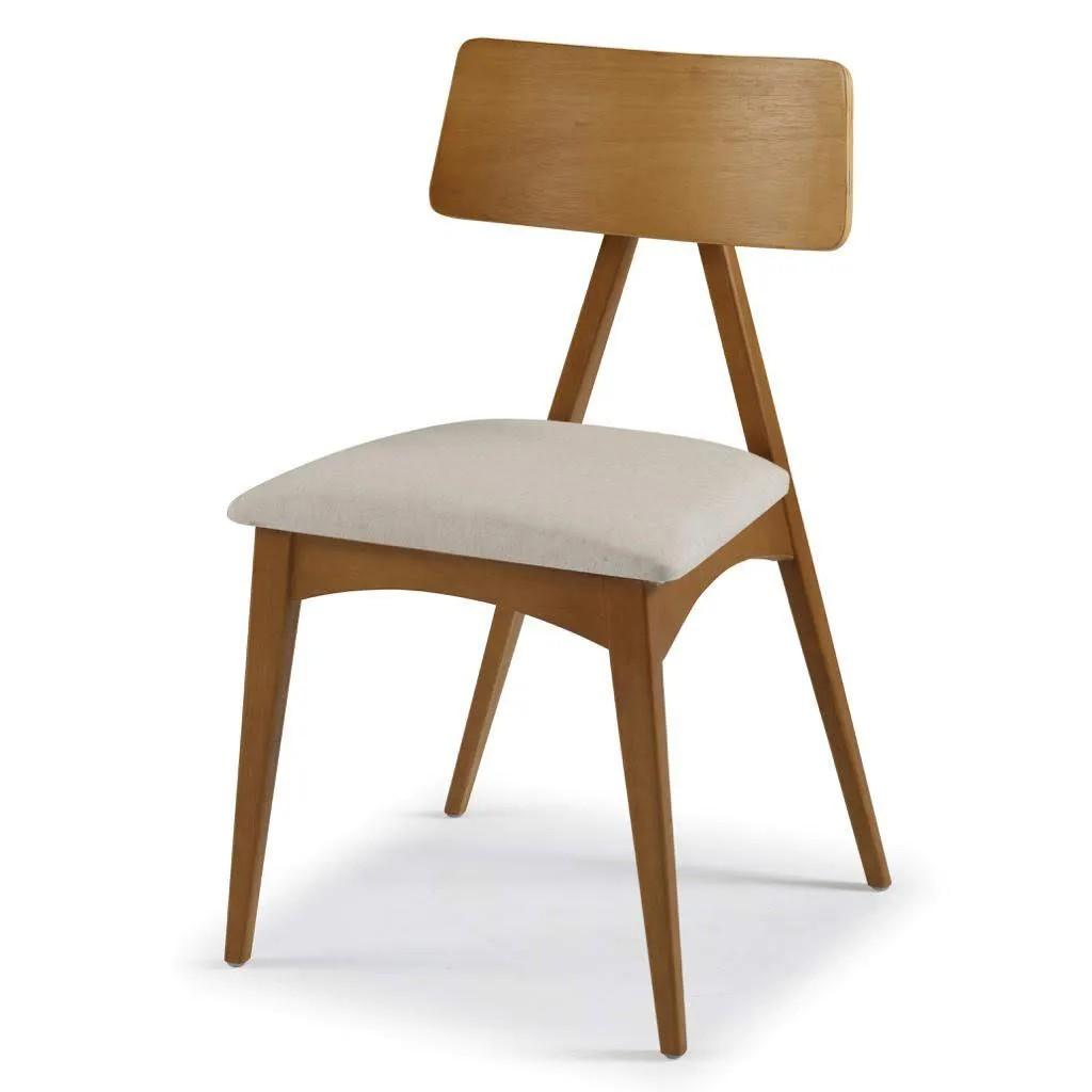 Kit c/ 2 unidades Cadeira Cadeira Fuji Madeira Maciça Freijó Tecido Assento Turim