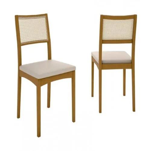 Kit c/ 2 unidades Cadeira Cadeira NOAH Madeira Maciça Freijó Encosto Palha Natural Assento Tecido Turim