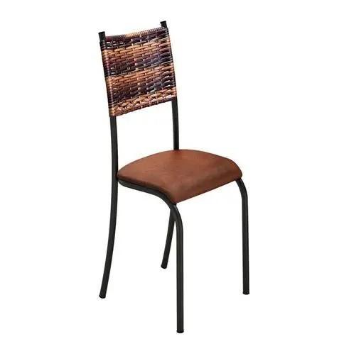 Kit c/ 4 unidades Cadeira Moderna Encosto de Junco e Assento Courino Tabaco
