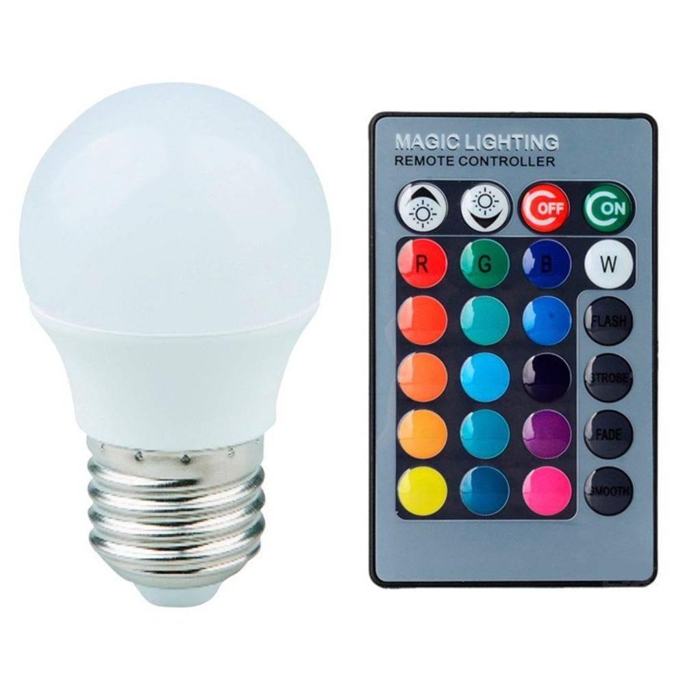 Lâmpada De Led Bolinha 3w  RGB Colorida E27 c/ Controle