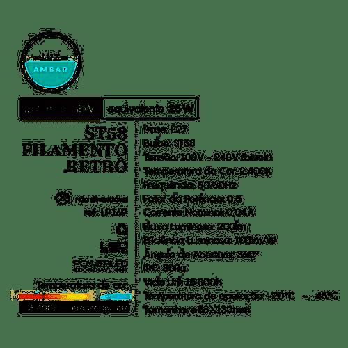 Lâmpada Filamento Vintage Âmbar Led E27 2W 200LM ST38